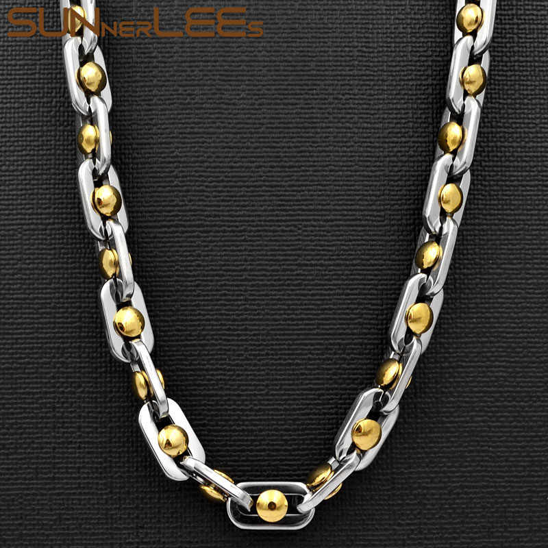 SUNNERLEES 316L Stainless Steel Necklace 9mm Geometric Beads Link Chain Silver Gold Men Women Fashion Jewelry Gift SC74 N