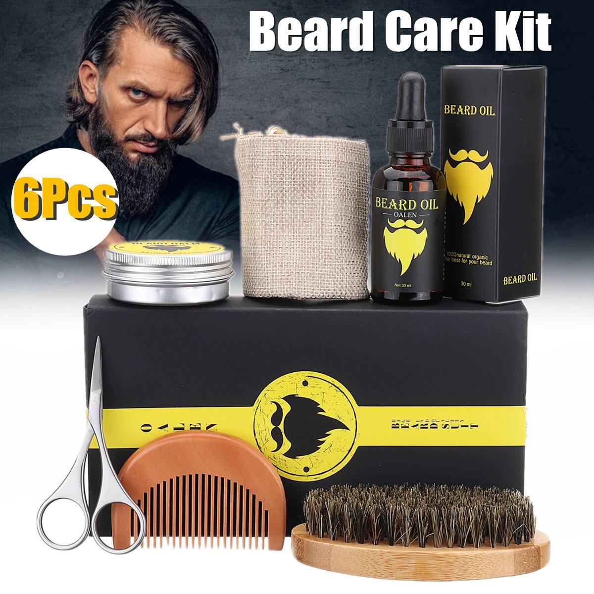 Moisturizing Nourishing 6Pcs Men Moustache Cream Beard Oil Kit Wax Balm Comb Bea