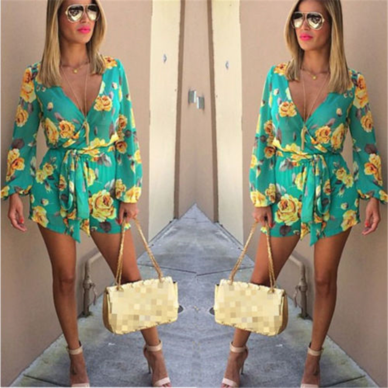 Womens Floral v neck floral sexy Clubwear Playsuit Bodysuit Party   Jumpsuit   Romper Chiffon Shorts