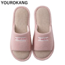 Summer Women Flax Home Slippers Unisex Couple Shoes Indoor Comfortable Female Linen Slippers Household Floor Spring Flip Flops