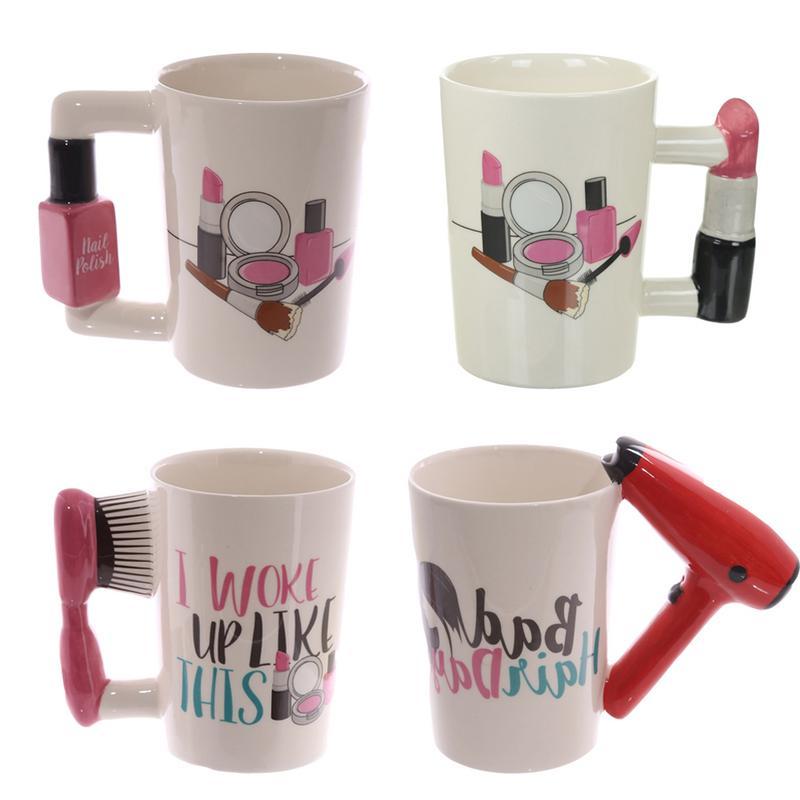 3D Hand Painted Ceramic Mug Beauty Tools 300ml Ceramic Cup Hair Dryer Comb Lipstick Nail Polish Dachshund Handle Milk Cup