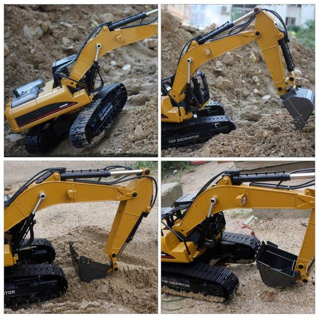 HUINA 1580 2.4G 1:14 23CH 3 in 1 Rc Hydraulic Excavator Electric Model Excavator Engineering Vehicle Remote Control Truck Autos