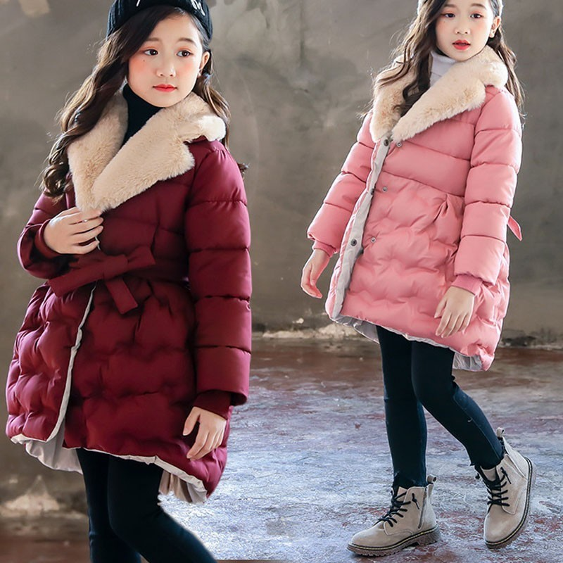 Fashion Baby Girls Jackets Kids Cotton Coat With Belt Red Pink Black Toddler Fur Collar Autumn Winter Jacket Children Parka fashion red longline coat with belt