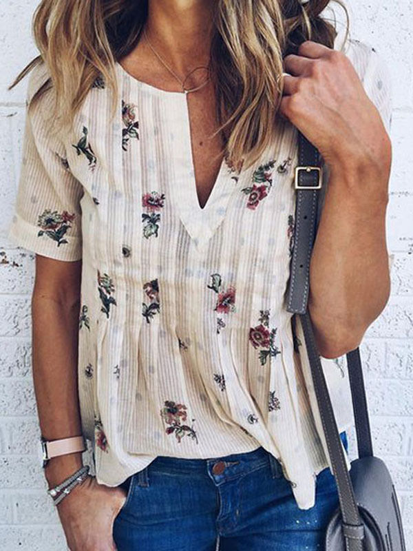 2018 New arrival Women Ladies Short Sleeve V-neck   Blouses     Shirts   Summer Floral Print Loose Casual   Blouses   S-2XL Size