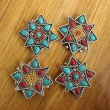 PN009 тибетский серебряный красочный камень антикварная звезда молитвенная коробка ожерелье Этническая тибетская коробка GAU амулет ручной работы ювелирные изделия в непальском стиле