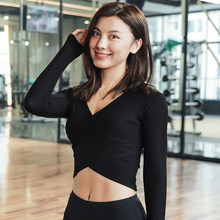 7ffdaf8910 Sexy Bare Midriff Yoga Shirt Solid Ballet Top Slimming Workout Tee Long  Sleeve Crop Tops T Shirt Women Sports Shirts Fitness