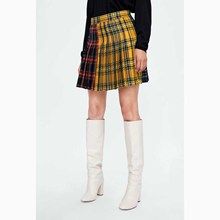 Fashion Women Plaid Skirts High Waist Color Block Pleated Skirt Cute Uniforms Ladies Mini
