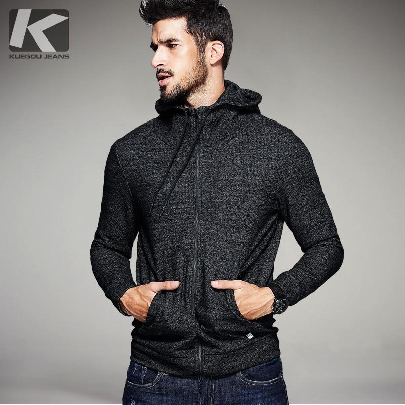 KUEGOU Automne Hommes décontracté À Capuche Épais Couleur Noire Marque Vêtements homme Slim Fit Sweats Capuches Hommes Porter Des Survêtements 6256