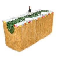 Adeeing 2.75 * 0.75m 1 * Hawaiian Picnic Table Skirt & 12 Simulate Tropical Leaves Party Table Decoration New Year