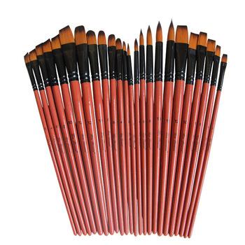 Art Model farba nylonowe włosy akrylowy olej akwarelowy do rysowania artystycznego brązowy 6 sztuk obraz rzemiosło pędzle artystyczne zestaw tanie i dobre opinie Drewna