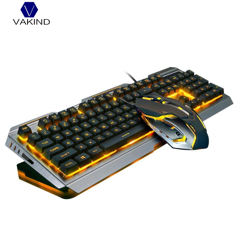 VAKIND Wired Gaming Keyboard Mouse Set Backlight 4000DPI Durable USB Wired Ergonomic Keyboards Mice Combos for Laptop PC alloyseed v1 wired backlight usb wired keyboards keypad mouse combos set 4000dpi durable wired gaming gamer keyboard mouse set