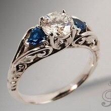 цена на Casual Sapphire Engagement Crystal Ring Sliver S925 Diamond Anillos De Bague Etoile Rings Bizuteria for Party Women Diamante Men