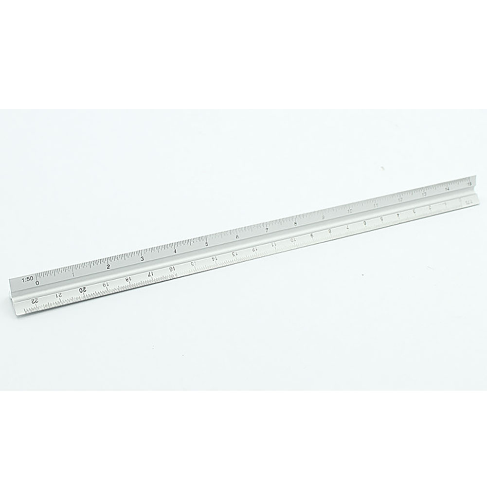30cm Triangle Engineer Aluminum Alloy Silver Accurate Clear Scale Ruler Technical Architect
