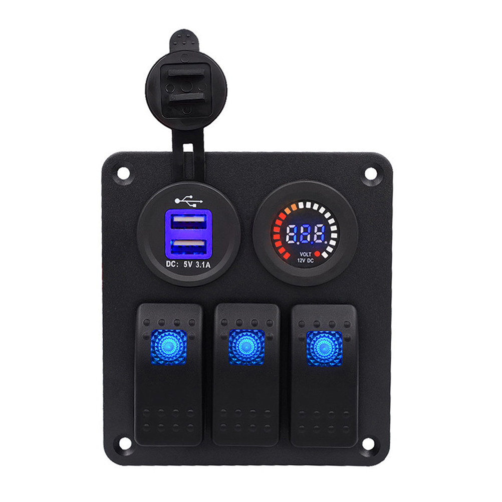 3 PIN Switch Panel Dual USB Charger 12V Color Screen Voltmeter for Car Boat Motorcycle3 PIN Switch Panel Dual USB Charger 12V Color Screen Voltmeter for Car Boat Motorcycle