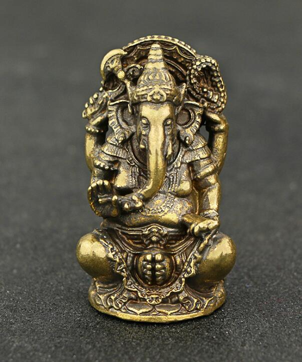 Collection Brass Carved Thai Elephant God, Bronze Elephant God Of Wealth Exquisite Small Statue Gift