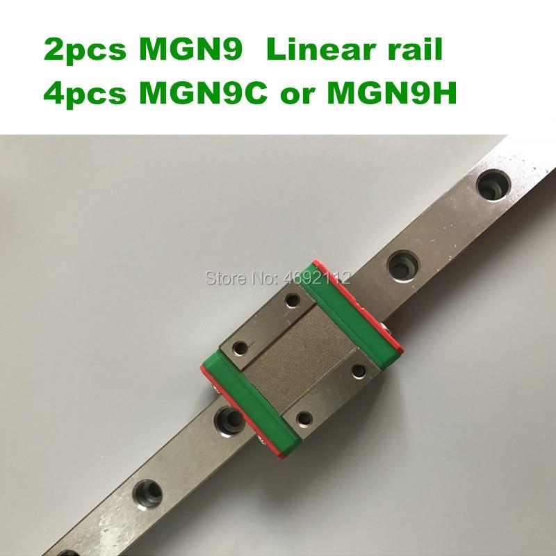 2PCS Linear rail guide MGN9 100 150 200 250 300 350 400 450 500 550 600mm + 4PCS MGN9H or MGN9C Carriage 3d printer part2PCS Linear rail guide MGN9 100 150 200 250 300 350 400 450 500 550 600mm + 4PCS MGN9H or MGN9C Carriage 3d printer part