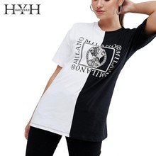 HYH HAOYIHUI Cool Girl Letter Print T-shirt Brand New Hot Stitching Monochromatic Chest Pattern Short Sleeve