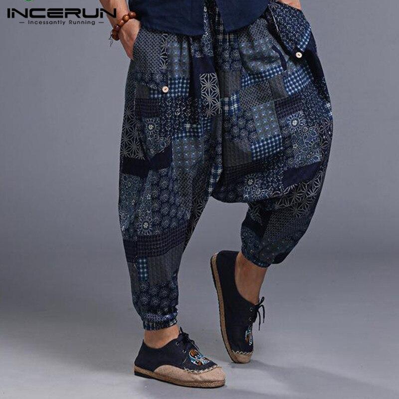 INCERUN 2020 Men Harem Pants Drop Crotch Print Hip-hop Trousers Men Baggy Cotton Stylish Retro Men Women Casual Pants Plus Size