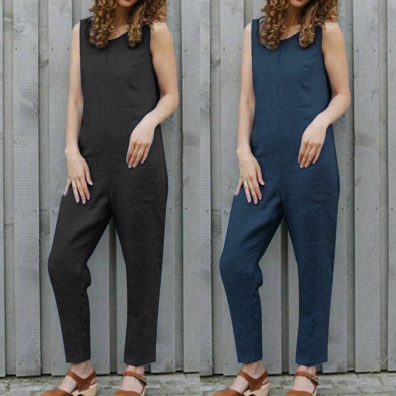 Intellective Plus Size S-5xl Celmia Women Cotton Pockets Long Romper 2019 Summer Sleeveless Dungaree Bib Overalls Casual Loose Solid Jumpsuit Women's Clothing