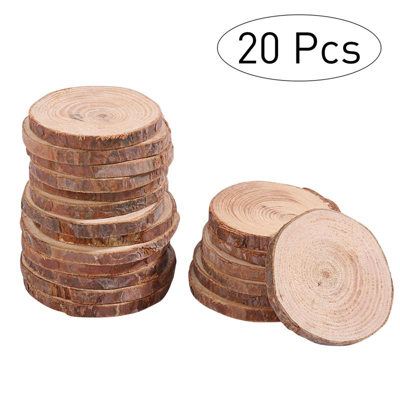 20pcs 5-6CM Round Circle Unfinished Natural Wood Slices Tree Bark Log Slices For Wedding Photo Props Christmas Ornanments