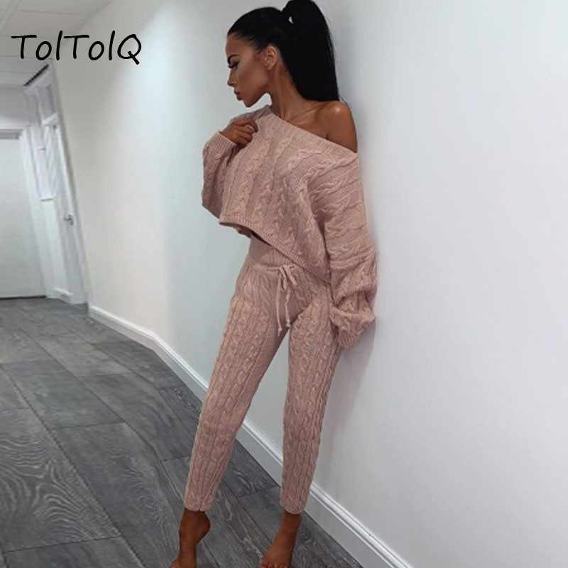 20b3a6e7a80 Sexy Two Piece Sets Knitted Short Top And Pants Pullover Long Sleeve Autumn  2 Piece Suit