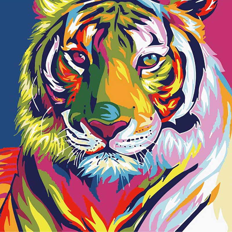 HOT DIY Painting By Numbers Colorful Lion Tiger Cat Animals Picture Coloring Paint By Numbers Linen Fabric For Wall Decoration
