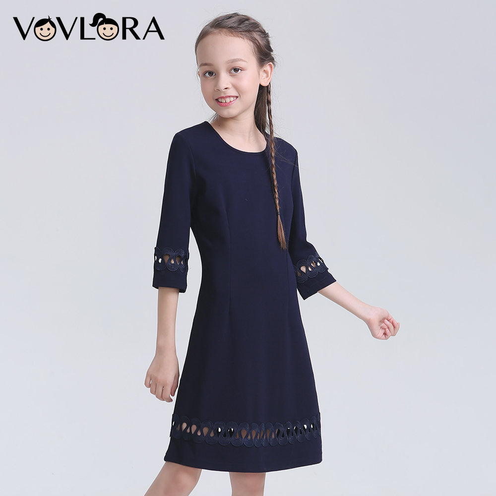 School Teen Dress For Girls Knitted Half Sleeve O Neck Teenagers Dresses Autumn 2018 School Uniform Size 9 10 11 12 13 14 Years