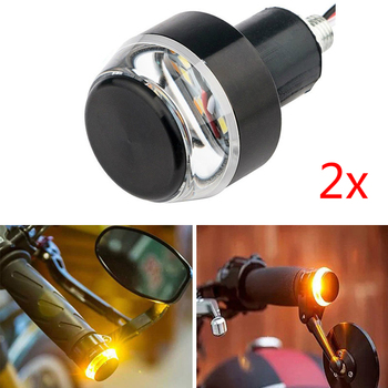 2 Pcs LED Motorcycle Handlebar End Turn Signal Light 22mm Yellow Universal Indicator Flasher Handle Bar Blinker Side Marker Lamp 1