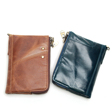 Hot Sale RFID Genuine Leather High Quality Double Zipper Purse With Coin Bags Short Men Wallet