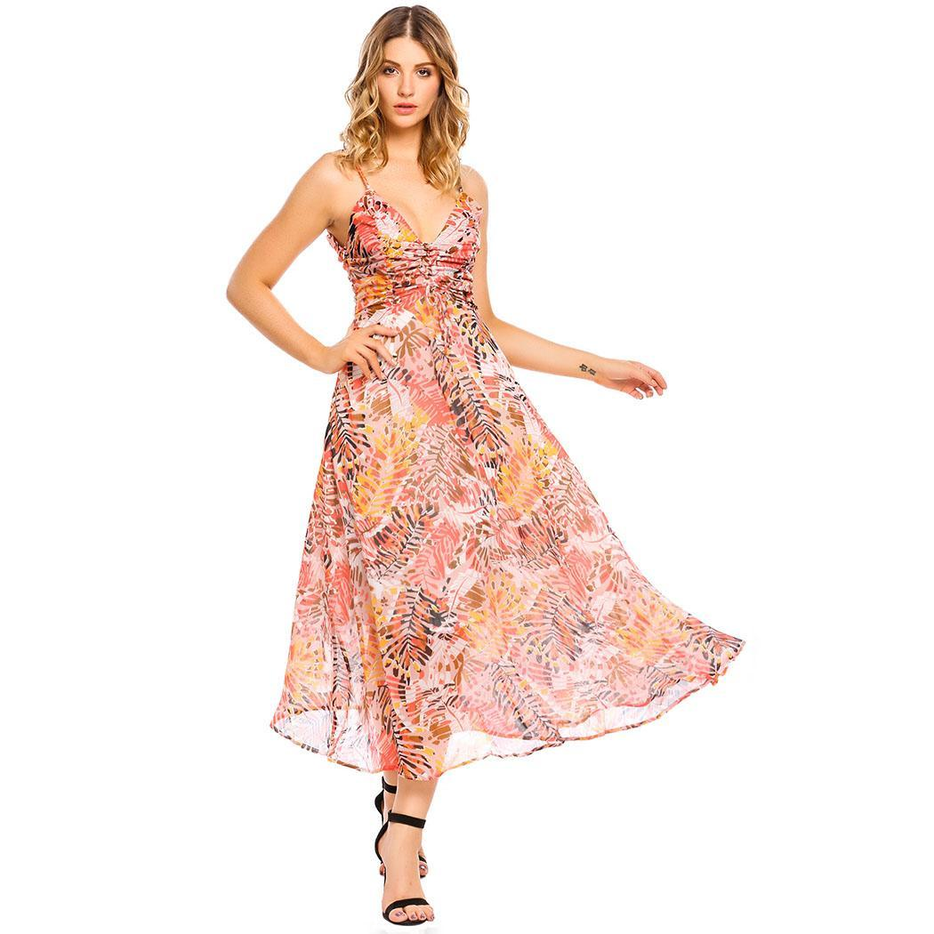 AL'OFA Women's   Cocktail     Dresses   Spaghetti Strap Drawstring Ruched Floral Print Chiffon Maxi Beach Vestido Sexy Party   Dress