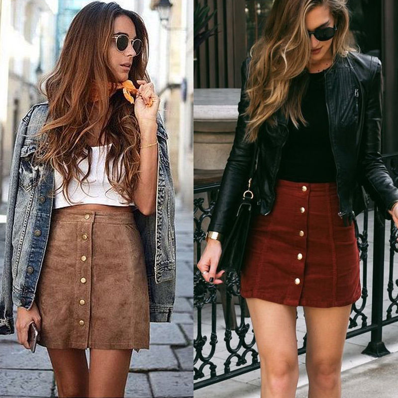 Apparel suede leather women skirt 90's Vintage short skirt Winter high waist casual skirts with button image