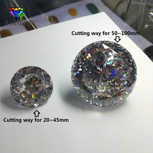 Image 3 - Big Size 30~100mm Round Brilliant Cut CZ Stone 1pc/lot 5A Quality White Cubic Zirconia Synthetic Gems For Jewelry
