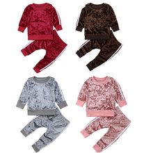 81d144949b3 Fashion Kids Baby Boy Girls Sports Clothes Toddler Baby Girl Boy Striped  Velvet Autumn Spring Suit Hoodies Pants 2Pcs Outfit Set