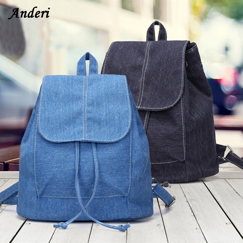 Denim Canvas Women Backpack Drawstring School Bags For Teenagers Girls Small Backpack Female Fashion Rucksack Mochilas Feminina