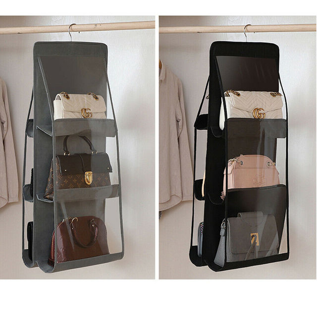 6 Pocket Foldable Hanging Bag 3 Layers Purse Handbag Organizer Folding Shelf Door 2
