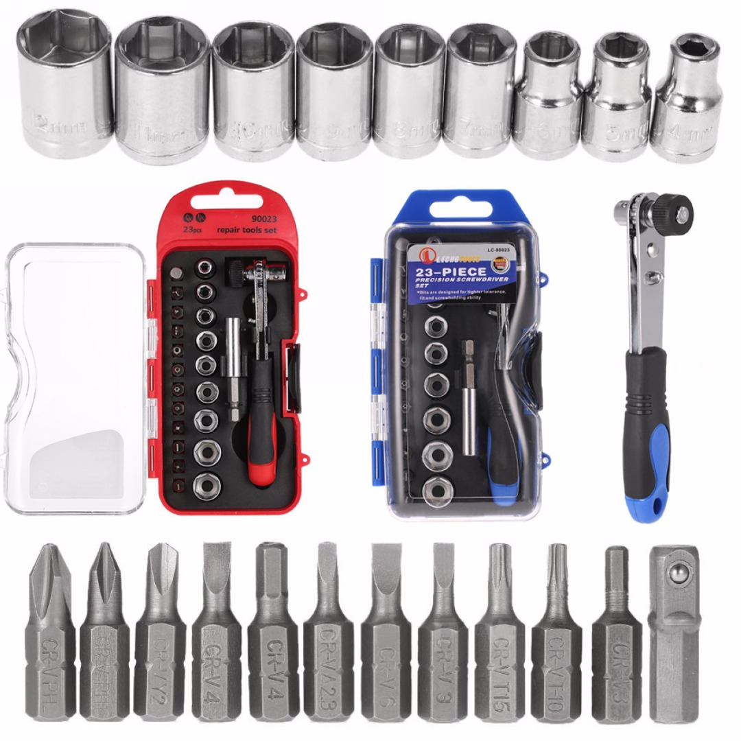 1set 23 In 1 Precision Mini Ratchet Screwdriver Bits Set Sockets Repair Tool Kits