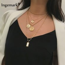 Ingemark Multilayer Carved Coin Choker Necklace Boho Vintage Alloy Beads Angel Sun Flower Pendant Long Necklace Women Jewelry(China)
