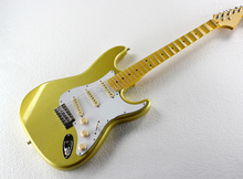 High quality Gold Electric Guitar with Yellow Scalloped Neck,White Pickguard,SSS Pickups,Chrome Hardware,Can be customized Free gold pearl st sss pickguard with parchment pickup covers knobs tip
