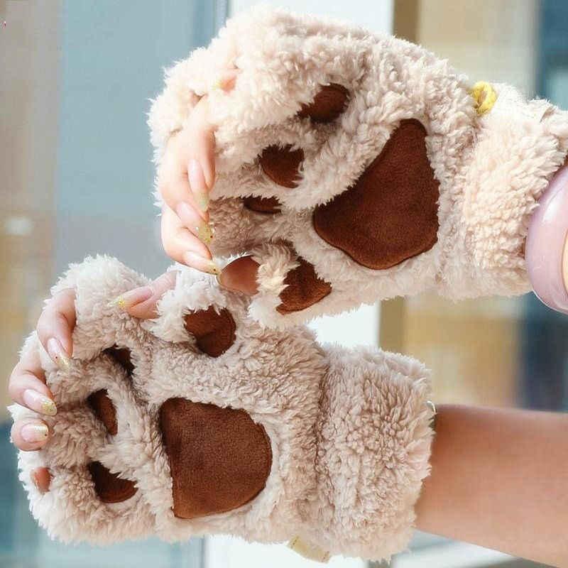 ผู้หญิงแมวน่ารัก Paw Plush Mittens Warm Soft Plush สั้น Fingerless Fluffy หมีแมวถุงมือเครื่องแต่งกายครึ่งนิ้วสีดำ beige