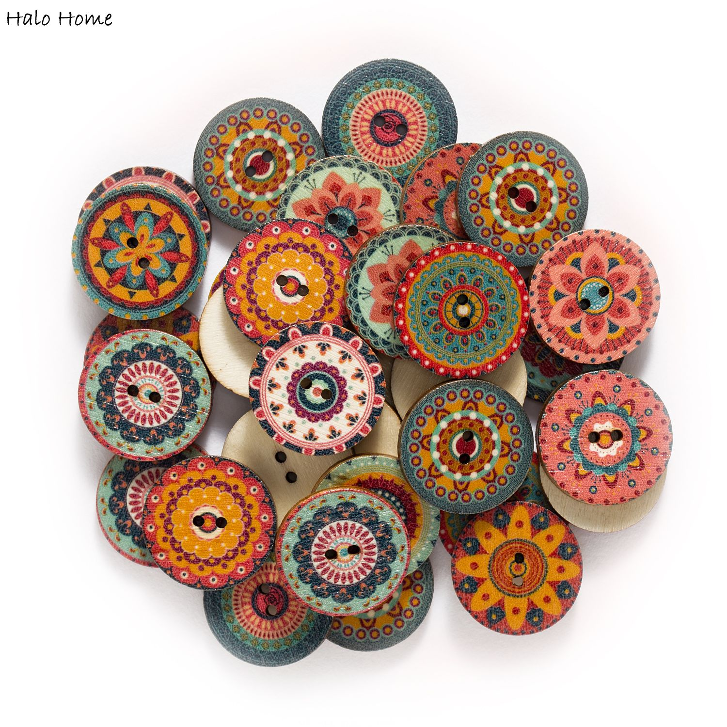 Glorious 50pcs Retro Series Wood Buttons For Handwork Sewing Scrapbook Clothing Crafts Accessories Gift Card Decor 15-25mm