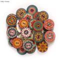 Деревянные пуговицы в стиле ретро для рукоделия, шитья, скрапбукинга, одежды, рукоделия, аксессуары, декор подарочной карты, 15-25 мм, 50 шт.