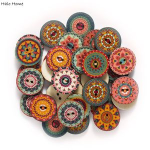 50pcs Retro series Wood Buttons for Handwork Sewing Scrapbook Clothing Crafts Accessories Gift Card Decor 15-25mm