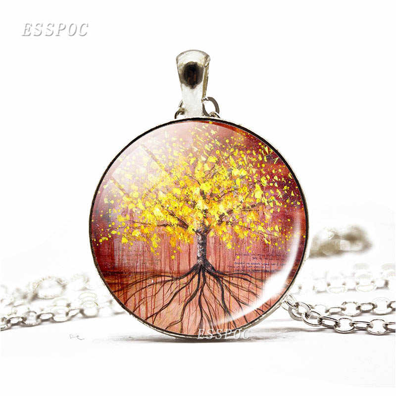 Dropshipping drzewo życia naszyjnik w stylu Vintage, ręcznie robione, obraz wisiorek ze szklanym kaboszonem biżuteria boże narodzenie kobiety mężczyźni moda prezent