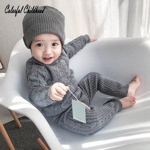 Infant newborn baby clothing set autumn winter cotton knitting long sleeve pullovers+pants suit kids outfits children sweater(China)