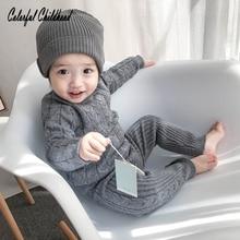 Infantil bebê recém nascido conjunto de roupas outono inverno algodão tricô manga comprida pullovers + calças terno crianças roupas camisola