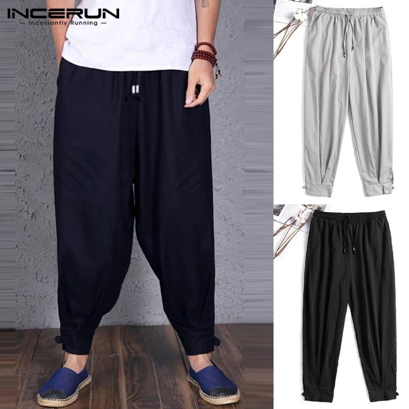 INCERUN Plain Men Harem Trouser Wide Legs Pants Baggy Loose Fitness Joggers Dance Vacation Harajuku Pantalon Masculina Button