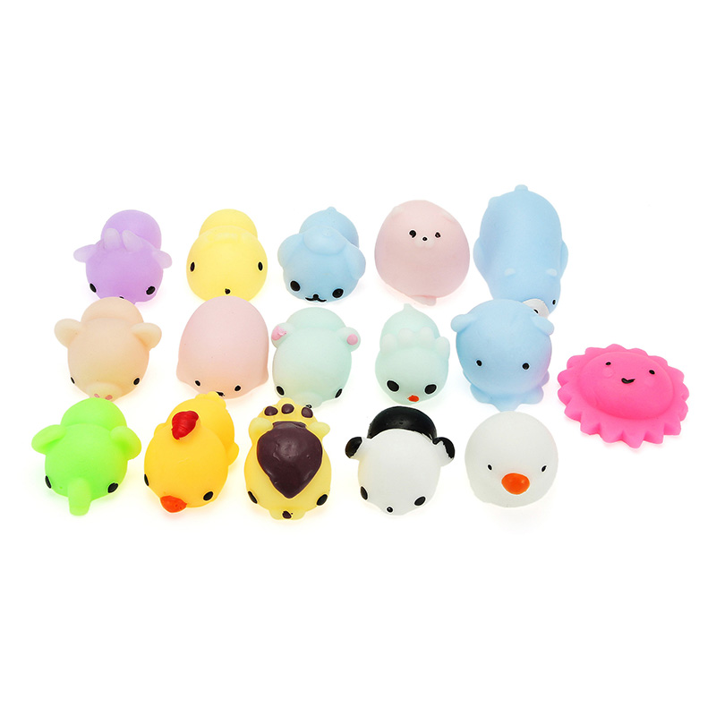 16PCS Mini Cute Animal Squishying Mochi Stress Reliever Squeeze Healing Toy Seal Cat Paw Collection Christmas Gift Decor