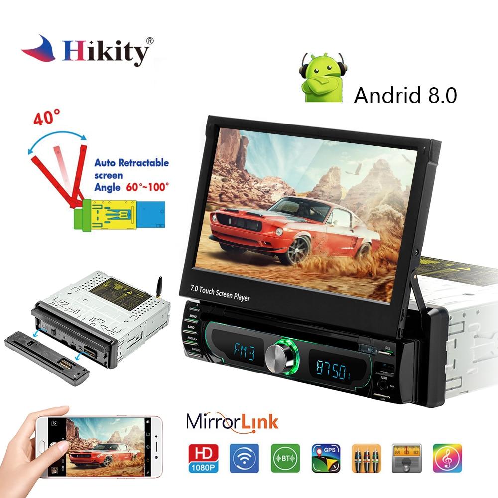 Hikity Android 1 din Autoradio GPS 7 pouces voiture multimédia MP5 lecteur DVD Support caméra de recul avec lien miroir