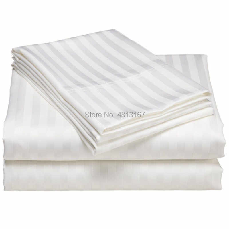 100% Katun Satin Stripe Duvet Cover Selimut/Penghibur Cover Case Sarung Bantal Hotel Tekstil Single Double Penuh Ratu King Size