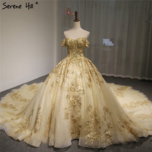 Dubai High end Short Sleeves Luxury Wedding Dress Vintage Sexy Off Shoulder Gold Beading Sequined Wedding Bride Gown 2020
